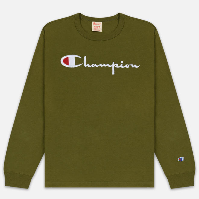 Мужской лонгслив Champion Reverse Weave Big Script Crew Olive Green