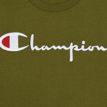 Мужской лонгслив Champion Reverse Weave Big Script Crew Olive Green фото- 2