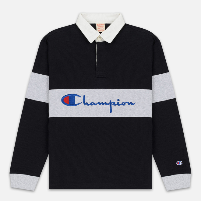 Мужской лонгслив Champion Reverse Weave Big Script Polo Black/Light Grey
