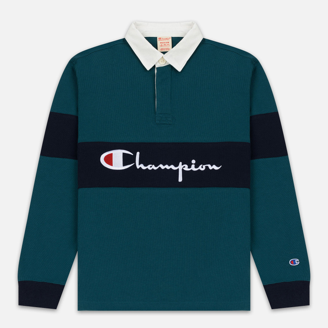 Мужской лонгслив Champion Reverse Weave Big Script Polo Teal/Navy