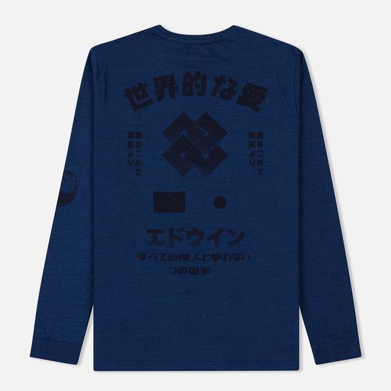 Мужской лонгслив Edwin Worldwide Love Mid Indigo Garment Washed