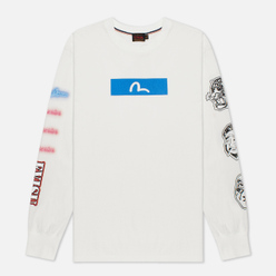 Мужской лонгслив Evisu Evergreen Seagull Box Logo Printed Off White Off White