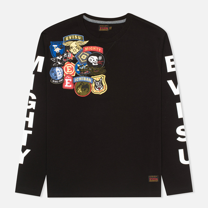 Evisu Fancy Print Badge Men's Longsleeve Black