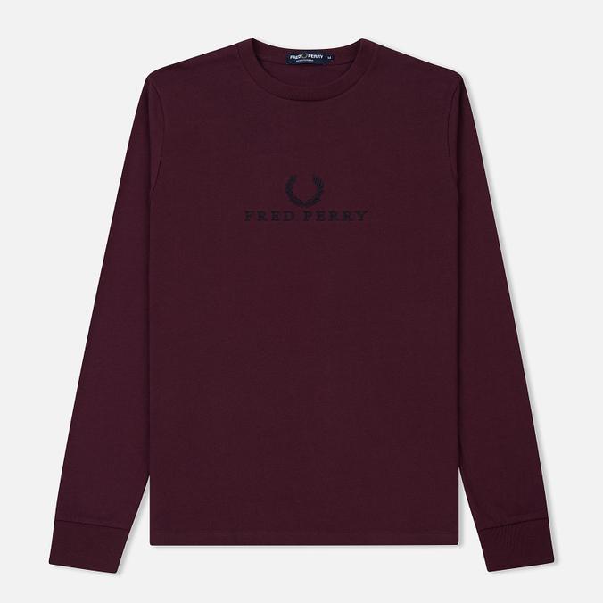 Мужской лонгслив Fred Perry 90s Branding Embroidered Mahogany