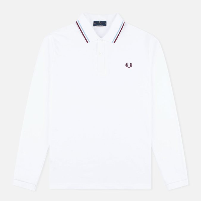 Мужской лонгслив Fred Perry Twin Tipped White/Ice/Maroon