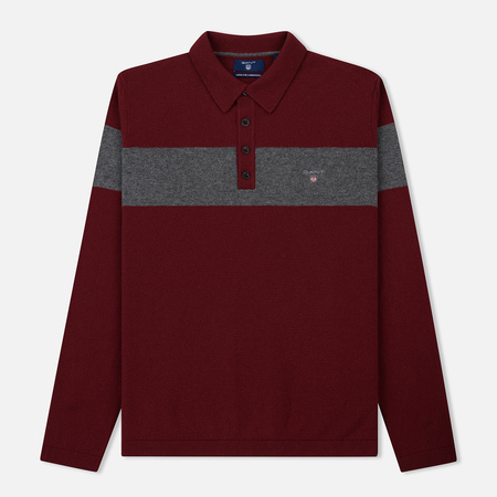 Мужской лонгслив Gant Chest Stripe Knitted Polo Winter Wine