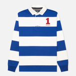 Мужской лонгслив Hackett Block Striped Rugby Blue/White фото- 0