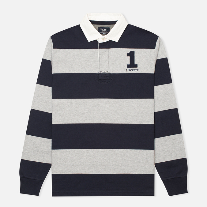 Мужской лонгслив Hackett Block Striped Rugby Navy/Grey