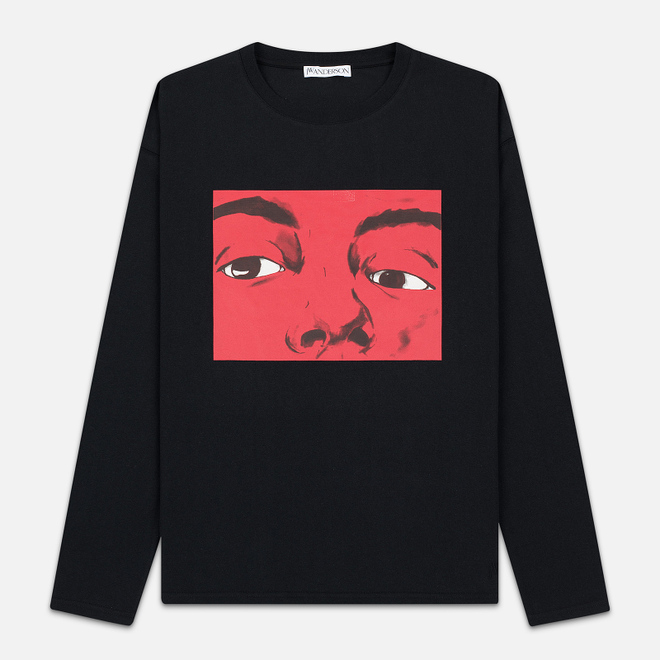 Мужской лонгслив JW Anderson Eyes Printed Black
