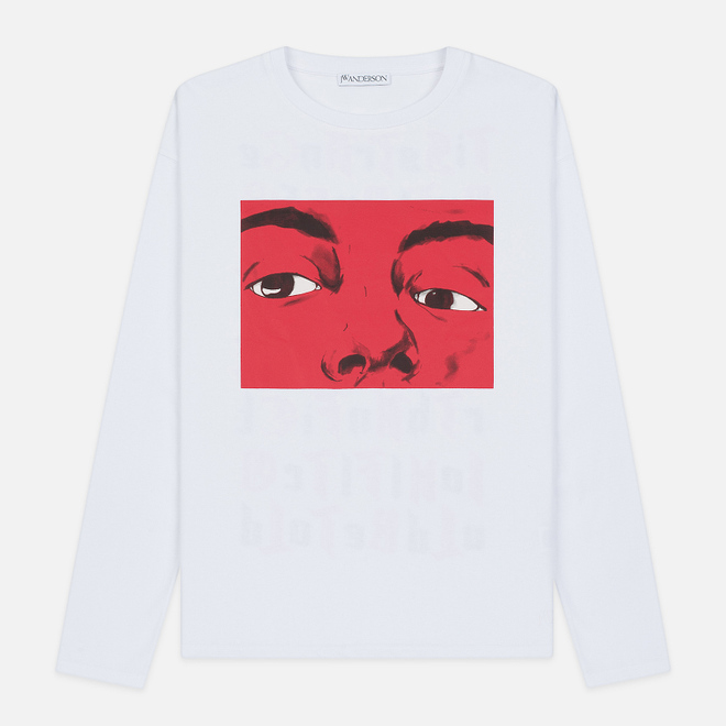 Мужской лонгслив JW Anderson Eyes Printed White