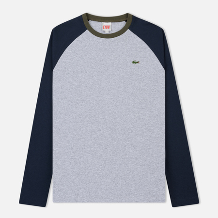 Мужской лонгслив Lacoste Live Bicolor Jersey Silver Chine/Meridian Blue