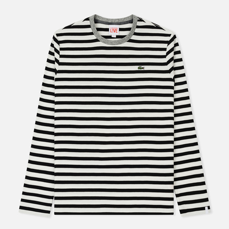 Мужской лонгслив Lacoste Live Contrast Collar Cotton Jersey Nautical Flour/Black