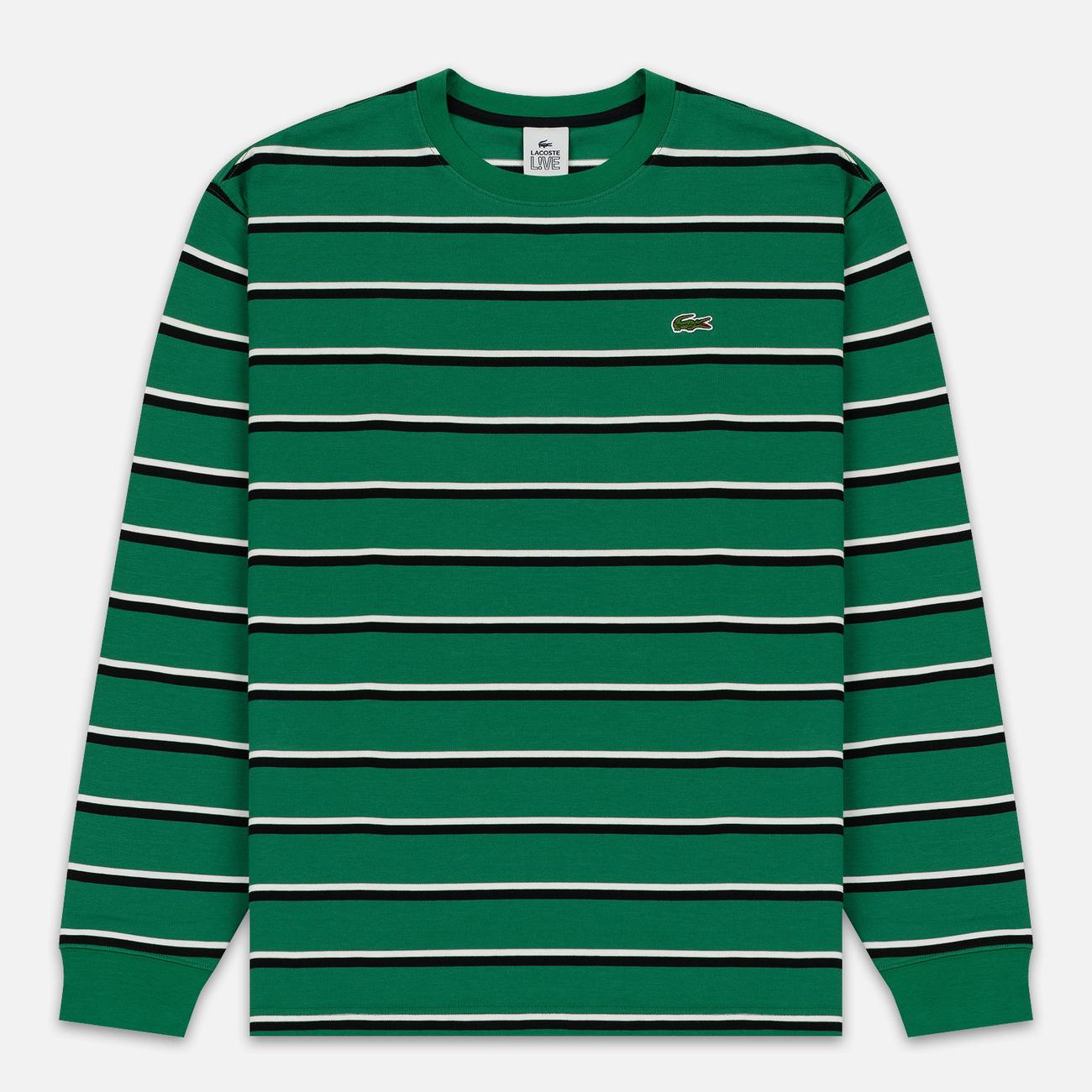 Мужской лонгслив Lacoste Live Crew Neck Striped Cotton Green/Black/White