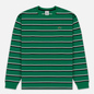 Мужской лонгслив Lacoste Live Crew Neck Striped Cotton Green/Black/White фото - 0