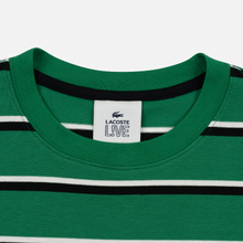 Мужской лонгслив Lacoste Live Crew Neck Striped Cotton Green/Black/White фото- 1