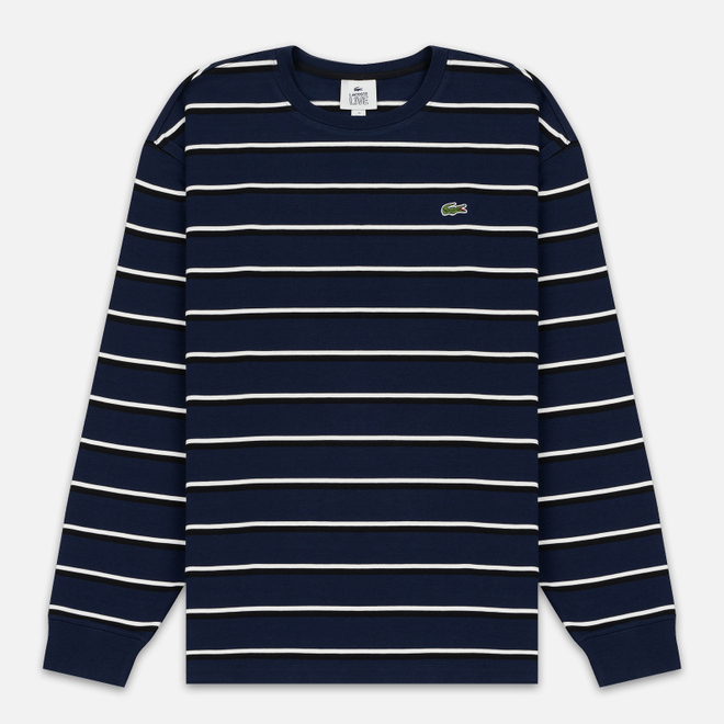 Мужской лонгслив Lacoste Live Crew Neck Striped Cotton Navy Blue/White/Black