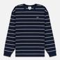 Мужской лонгслив Lacoste Live Crew Neck Striped Cotton Navy Blue/White/Black фото - 0