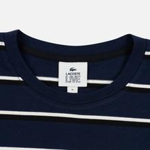 Мужской лонгслив Lacoste Live Crew Neck Striped Cotton Navy Blue/White/Black фото- 1