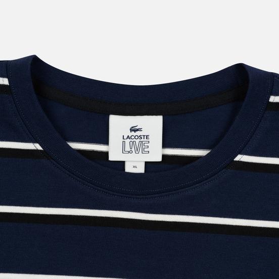Мужской лонгслив Lacoste Live Crew Neck Striped Cotton Navy Blue/White/Black