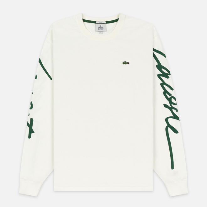 Мужской лонгслив Lacoste Live Signature Print White/Green
