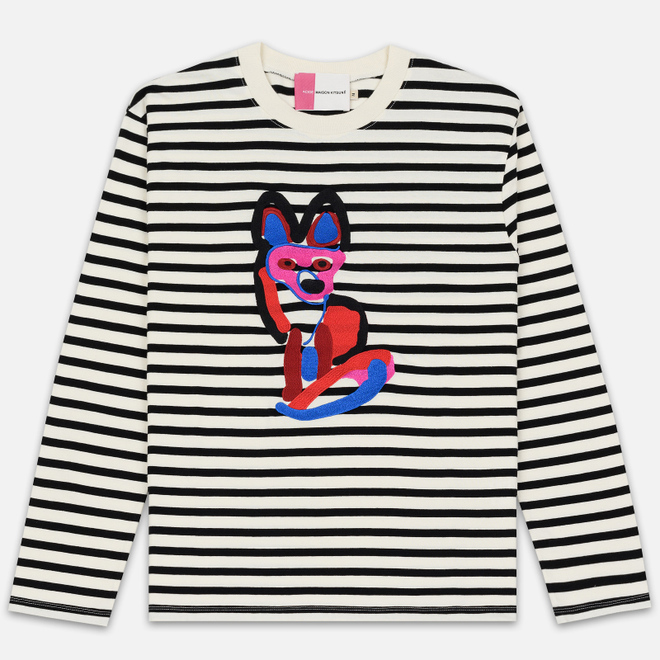 Мужской лонгслив Maison Kitsune Marin Acide Fox Black/White