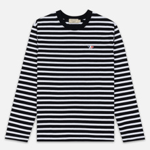 Мужской лонгслив Maison Kitsune Marin Tricolor Fox Patch Black/White фото- 0