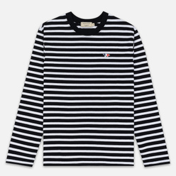 Мужской лонгслив Maison Kitsune Marin Tricolor Fox Patch Black/White