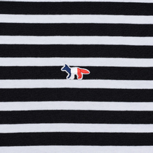 Мужской лонгслив Maison Kitsune Marin Tricolor Fox Patch Black/White фото- 2