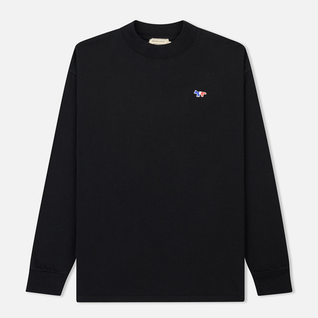 Мужской лонгслив Maison Kitsune Tricolor Fox Patch Black