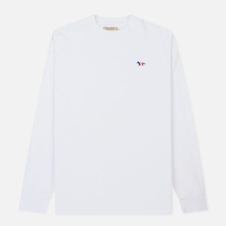 Мужской лонгслив Maison Kitsune Tricolor Fox Patch White
