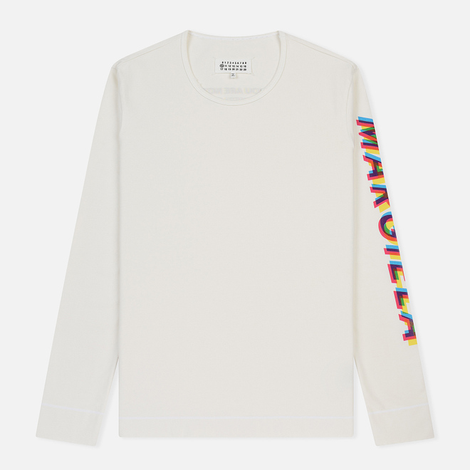 Мужской лонгслив Maison Margiela Signature 4 Stitches Embroidered Back Off White