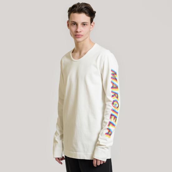 Мужской лонгслив Maison Margiela Signature 4 Stitches Embroidered Back Off White