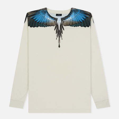 Мужской лонгслив Marcelo Burlon Turquoise Wings Beige/Multicolor