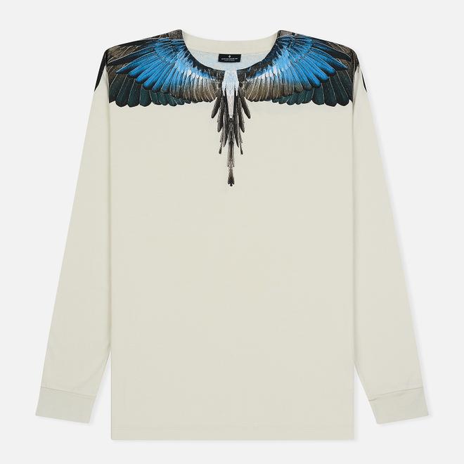 Мужской лонгслив Marcelo Burlon Turquoise Wings Beige/Multicolor