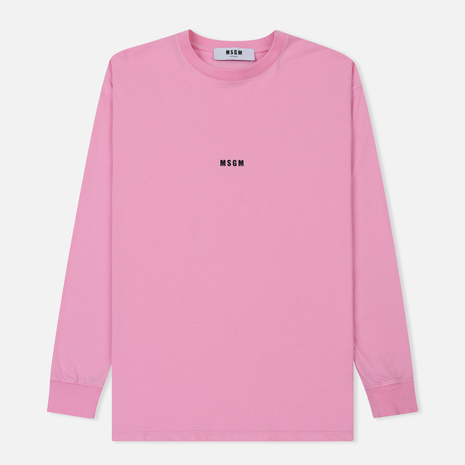 Мужской лонгслив MSGM Micro Logo Pink/Black