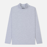 Мужской лонгслив MSGM Micro Logo Roll Neck Grey/Black фото- 0