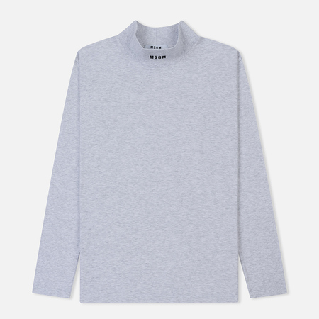 Мужской лонгслив MSGM Micro Logo Roll Neck Grey/Black