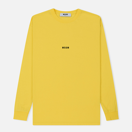 Мужской лонгслив MSGM Micro Logo Yellow/Black