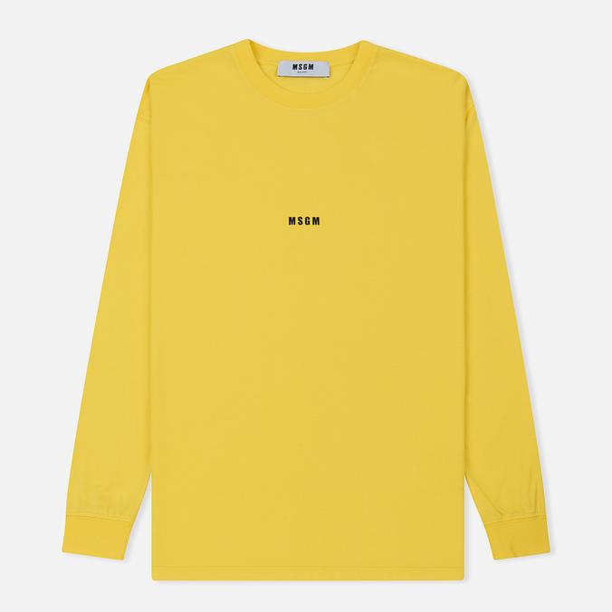 Мужской лонгслив MSGM Micro Logo Yellow/Black