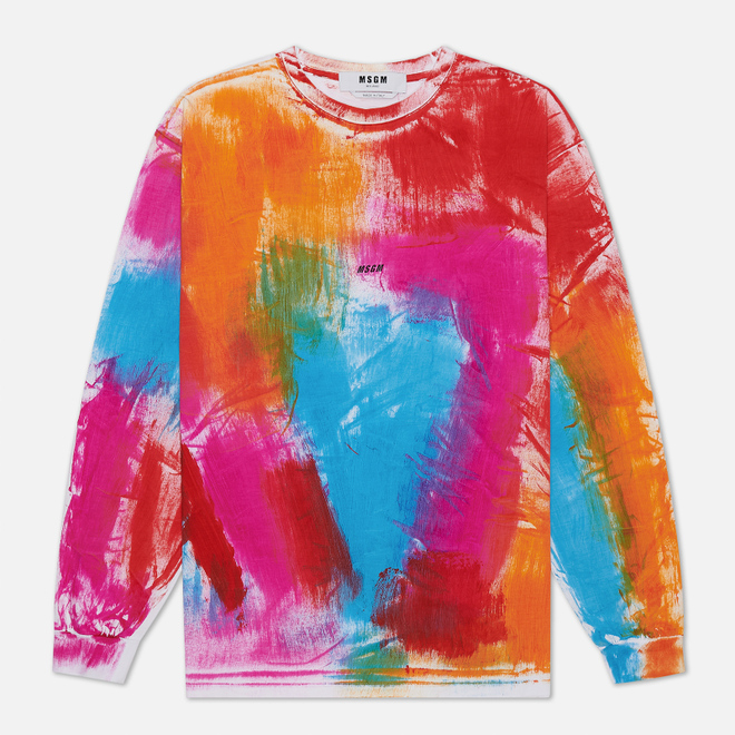 Мужской лонгслив MSGM Multicolor Brush Stroke Optical White