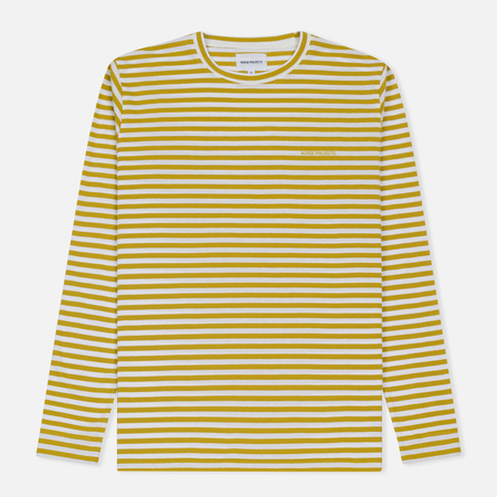 Мужской лонгслив Norse Projects James Logo Stripe LS White/Edge Yellow