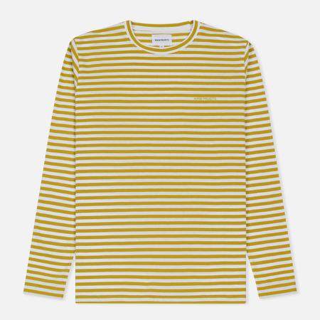 Мужской лонгслив Norse Projects James Logo Stripe LS White/Edge Yellow