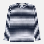 Мужской лонгслив Norse Projects James Logo Stripe LS White/Navy фото- 0
