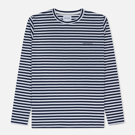 Мужской лонгслив Norse Projects James Logo Stripe LS White/Navy