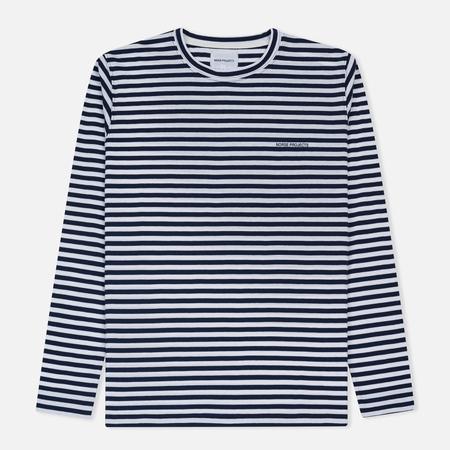 Мужской лонгслив Norse Projects James Logo Stripe LS White/Navy