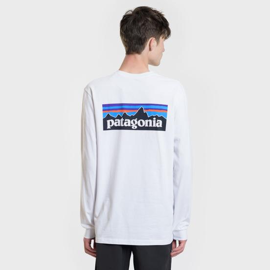 Мужской лонгслив Patagonia P-6 Logo White