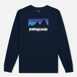 Мужской лонгслив Patagonia Shop Sticker Cotton Navy Blue фото- 0