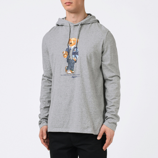 Мужской лонгслив Polo Ralph Lauren Bear Ready Play Football In Polo Style Hoodie Andover Heather