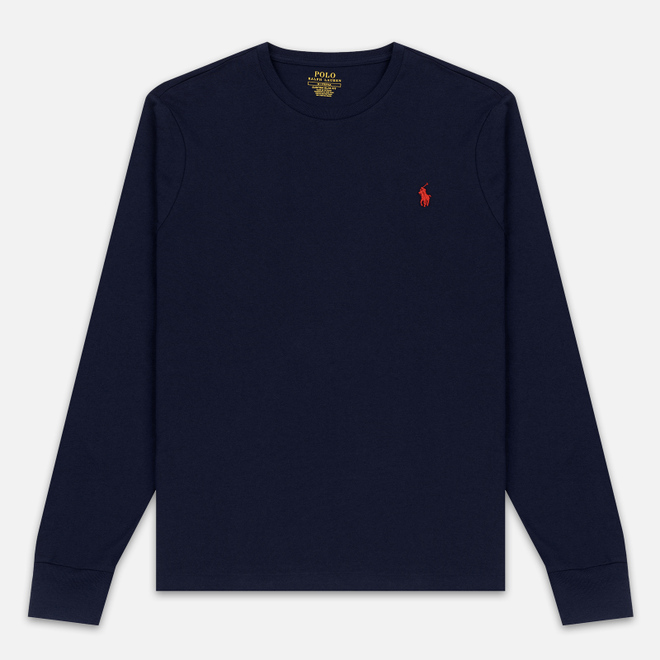 Мужской лонгслив Polo Ralph Lauren Custom Fit Embroidered Pony Ink