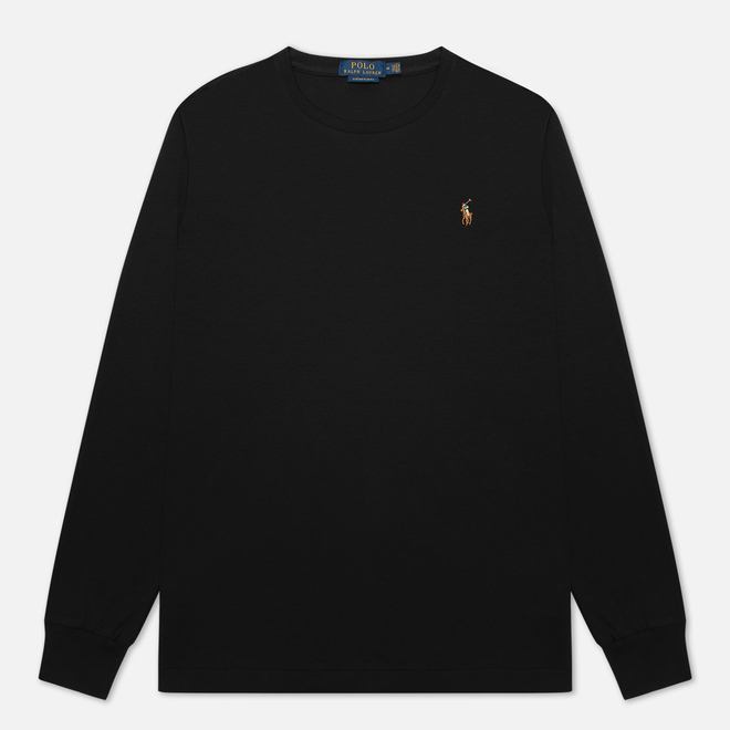 Мужской лонгслив Polo Ralph Lauren Custom Slim Fit Interlock Black
